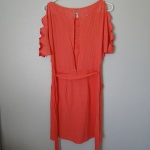 Esley Dresses - NWT Esley Cold-Shoulder Coral Shift Dress, SZ S.